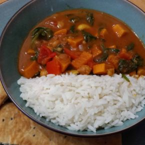 Sweet Potato, Chickpea, Spinach and Cashew Nut Curry